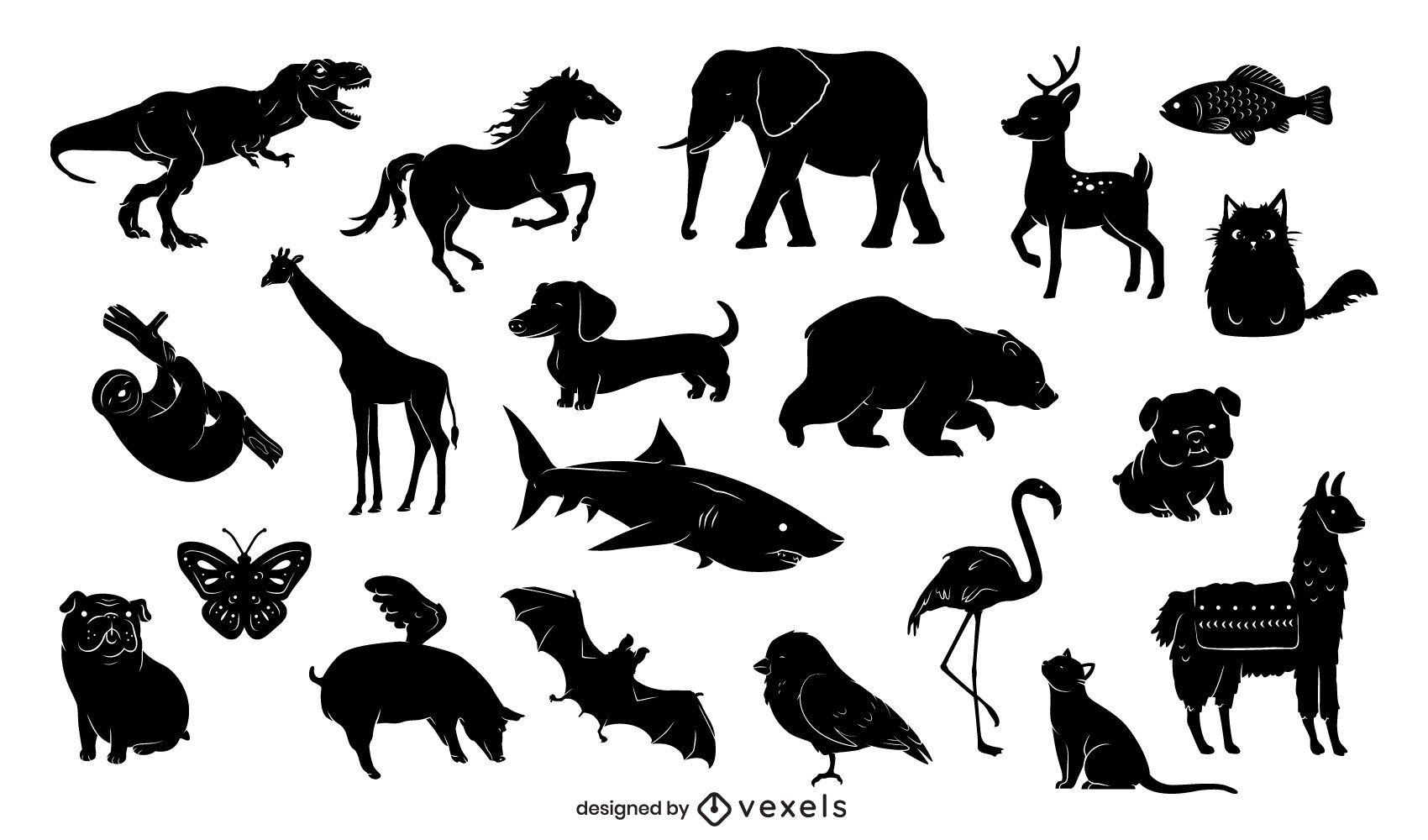 Conjunto de design de silhueta de animais