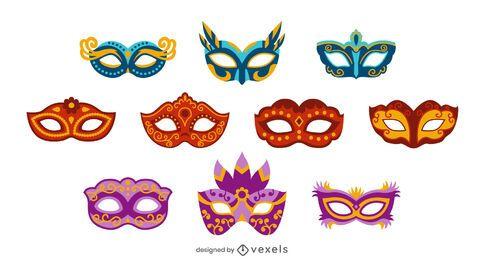 Conjunto de design de máscaras de carnaval