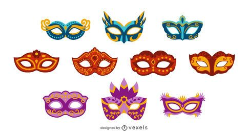 Conjunto de diseño de máscaras de carnaval.