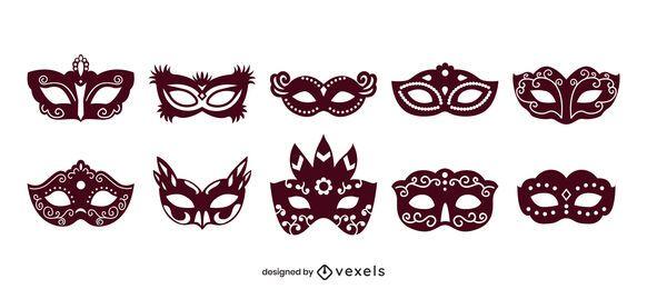 Conjunto de preenchimento sólido de máscara de carnaval