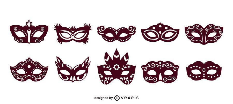 Carnival mask solid fill set