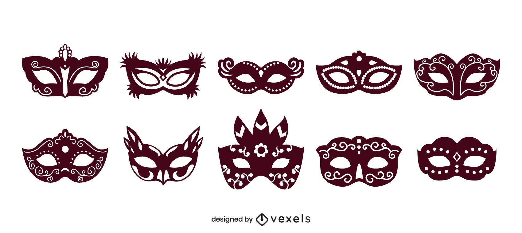 Juego de relleno sólido de máscara de carnaval