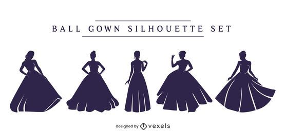 Conjunto de silhueta de vestido de baile