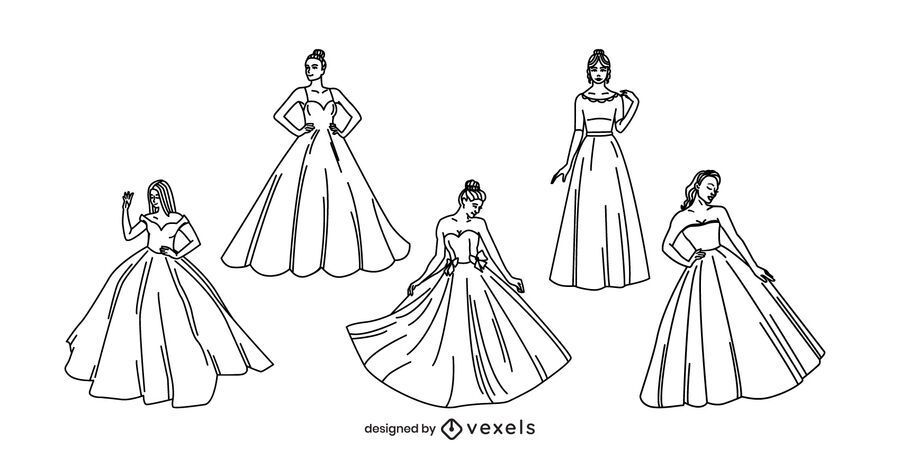 Women with ball gowns stroke set
