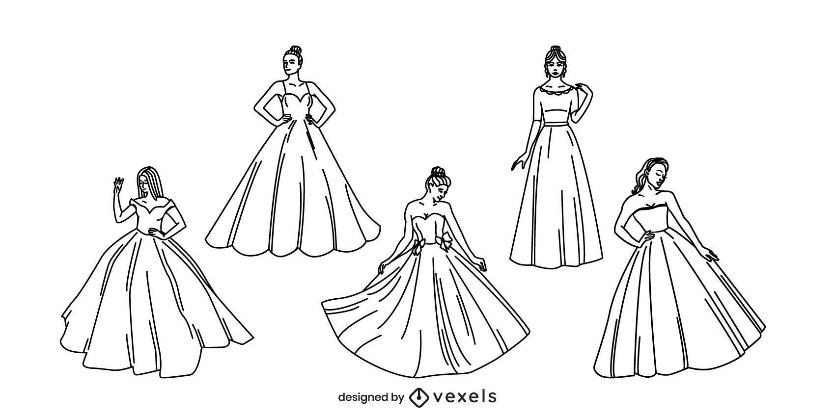 Conjunto de trazos de mujeres con vestidos de gala.