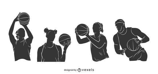 Cenário dividido para jogador de basquete