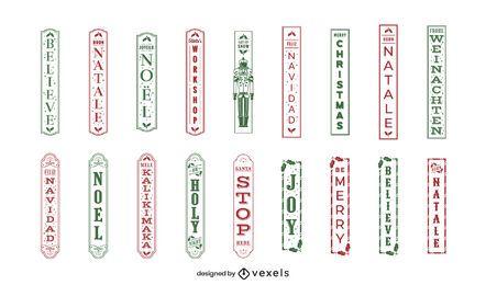 Conjunto de etiquetas verticales de cita navideña