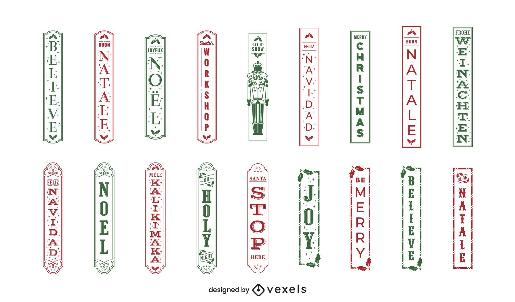 Christmas quote vertical label set