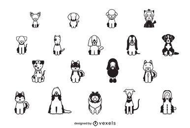 Conjunto de diseño de trazo de raza de perro