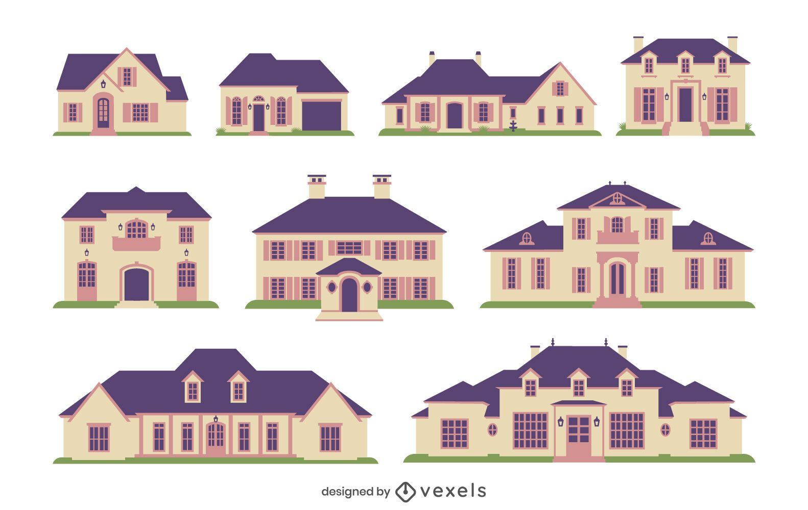 Colección plana casas de campo