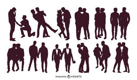 Colección de silueta de parejas gay