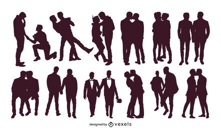 Homosexuell Paare Silhouette Sammlung