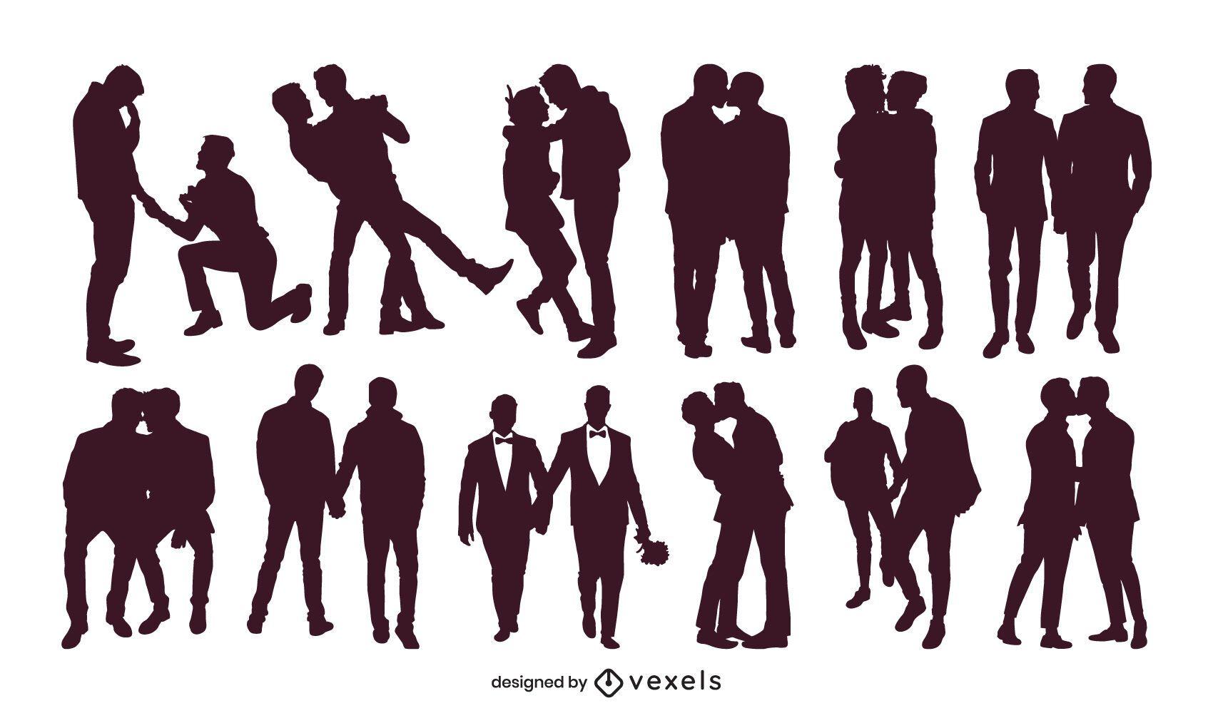 Coleção de silhuetas de casais gays