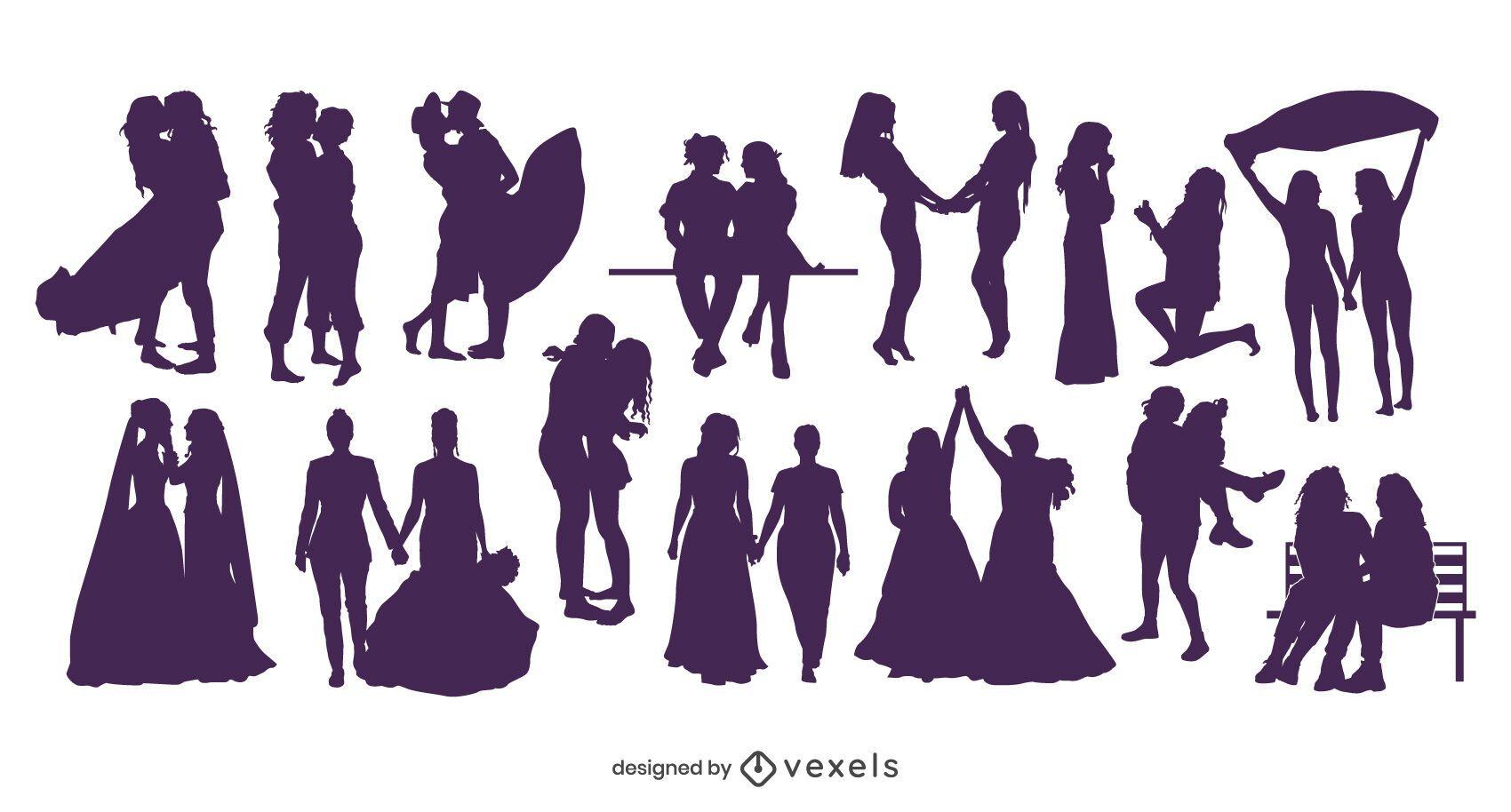Colección de silueta de parejas lesbianas