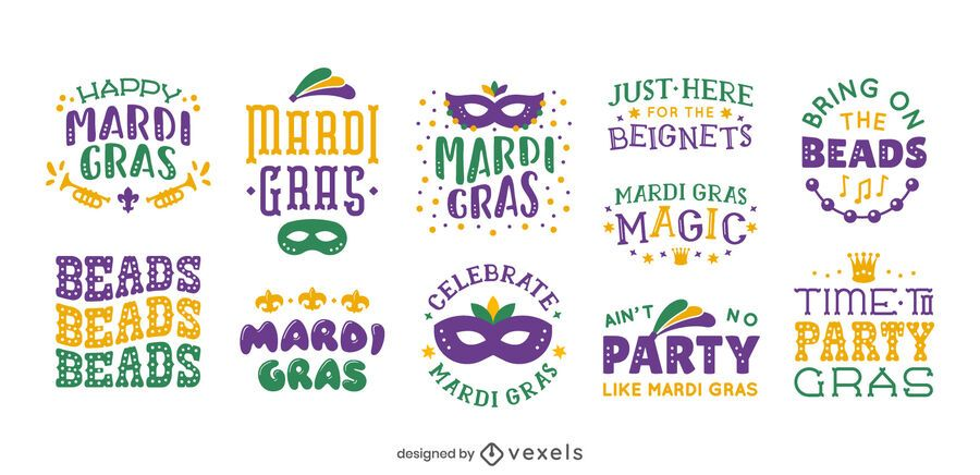 Mardi gras lettering set design