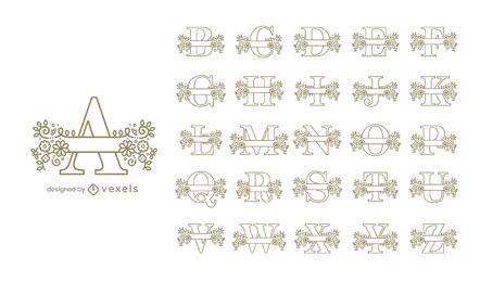 Diseño de conjunto de alfabeto floral monograma