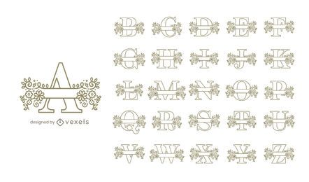 Monogram floral alphabet set design