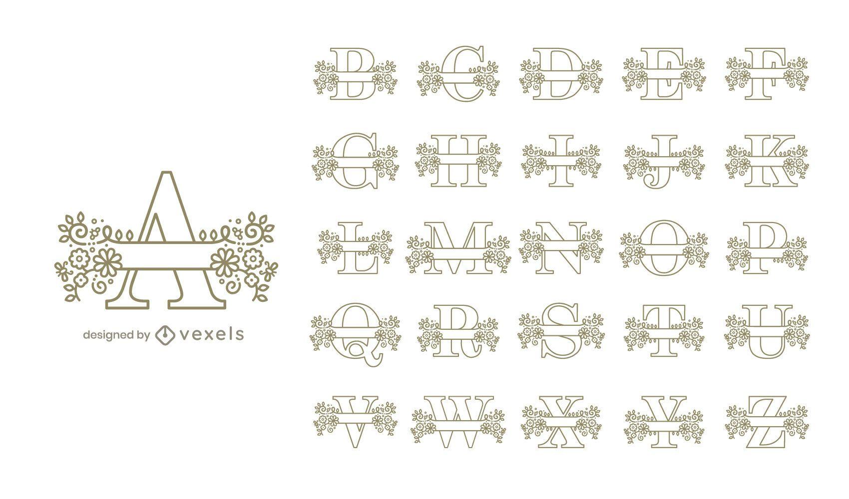 Monogram floral alphabet set design