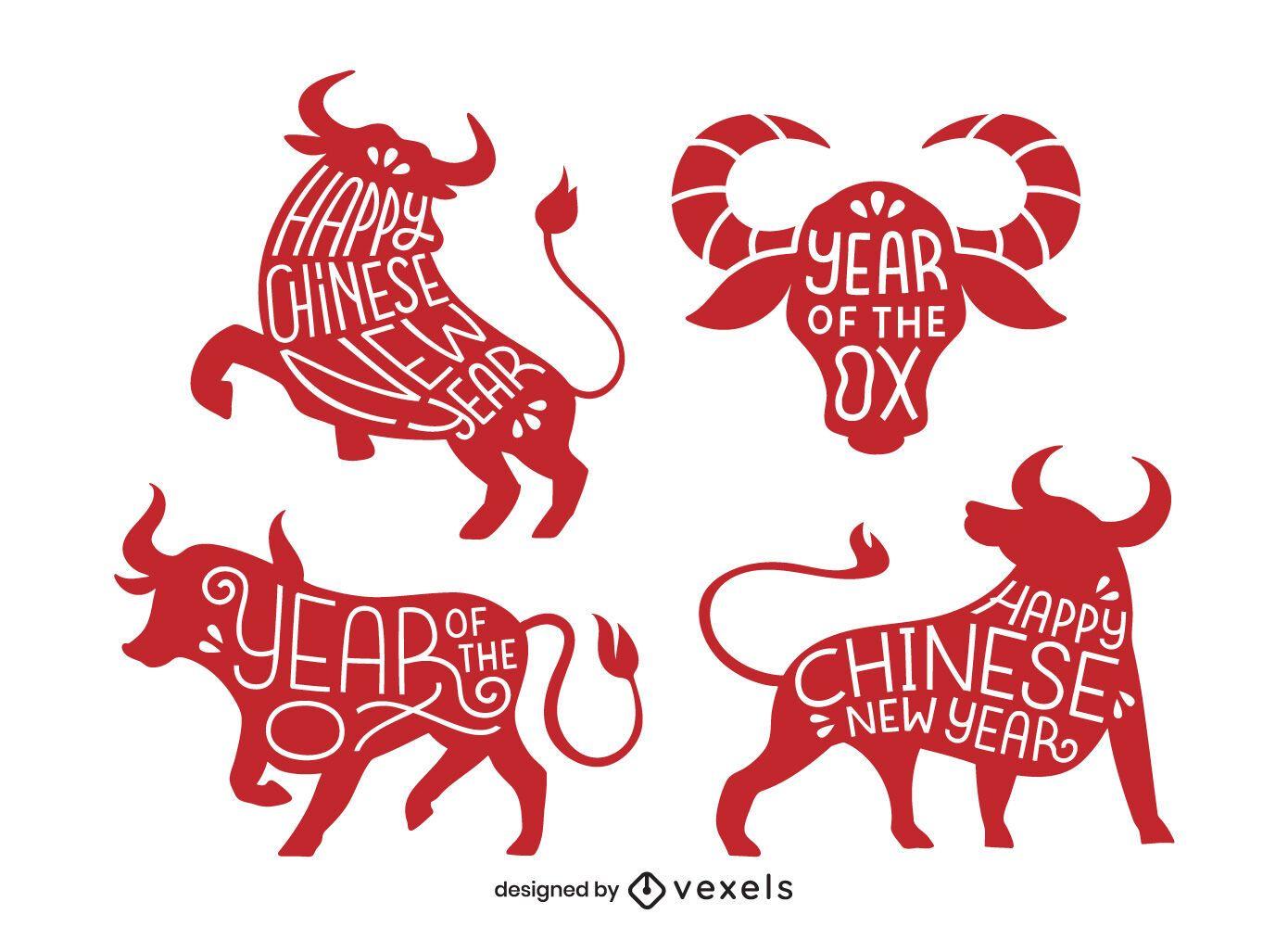 Conjunto de letras de boi de ano novo chinês