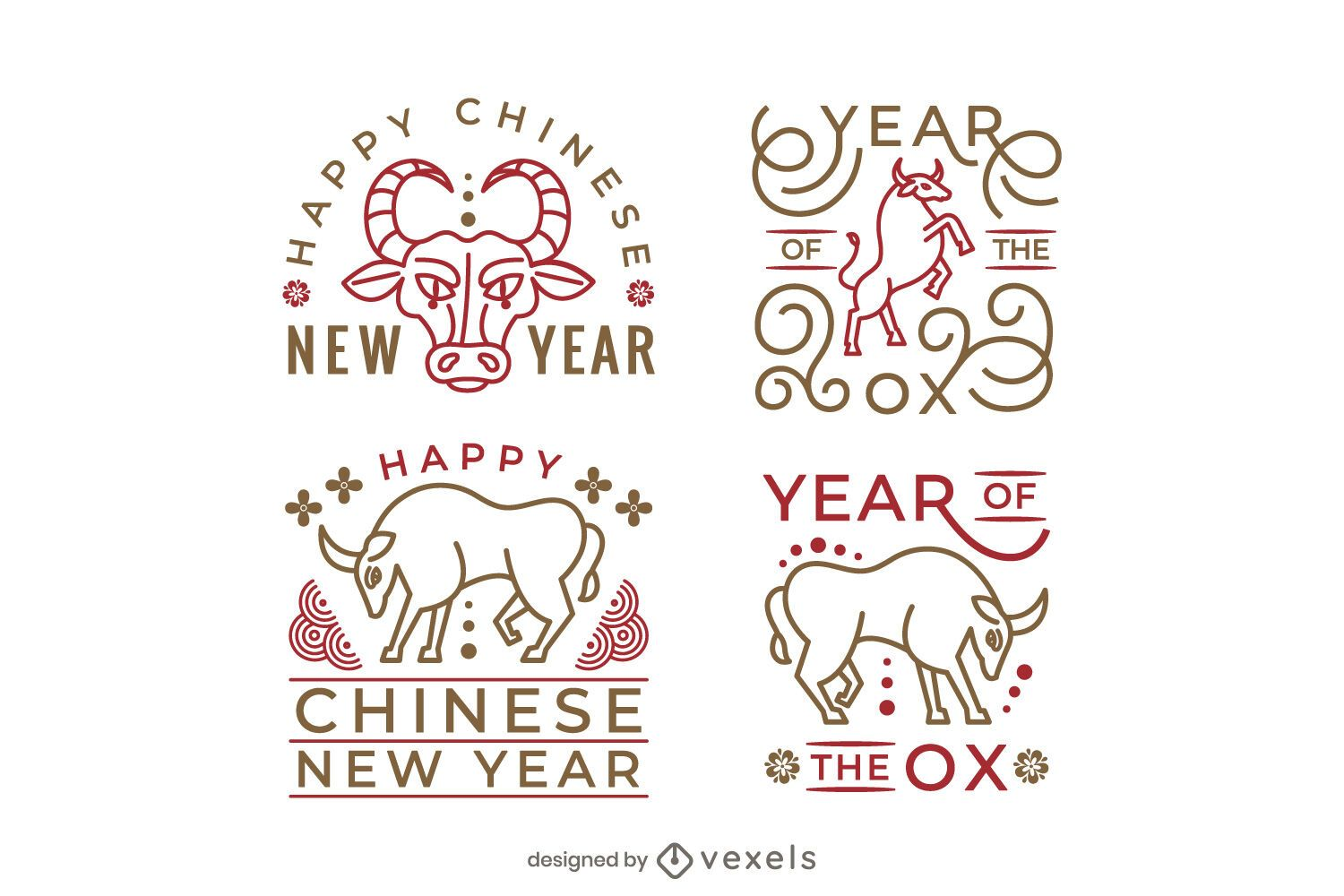 Year of the ox badge set design