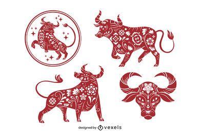 Jahr des Ochsen-Papierschnitt-Sets