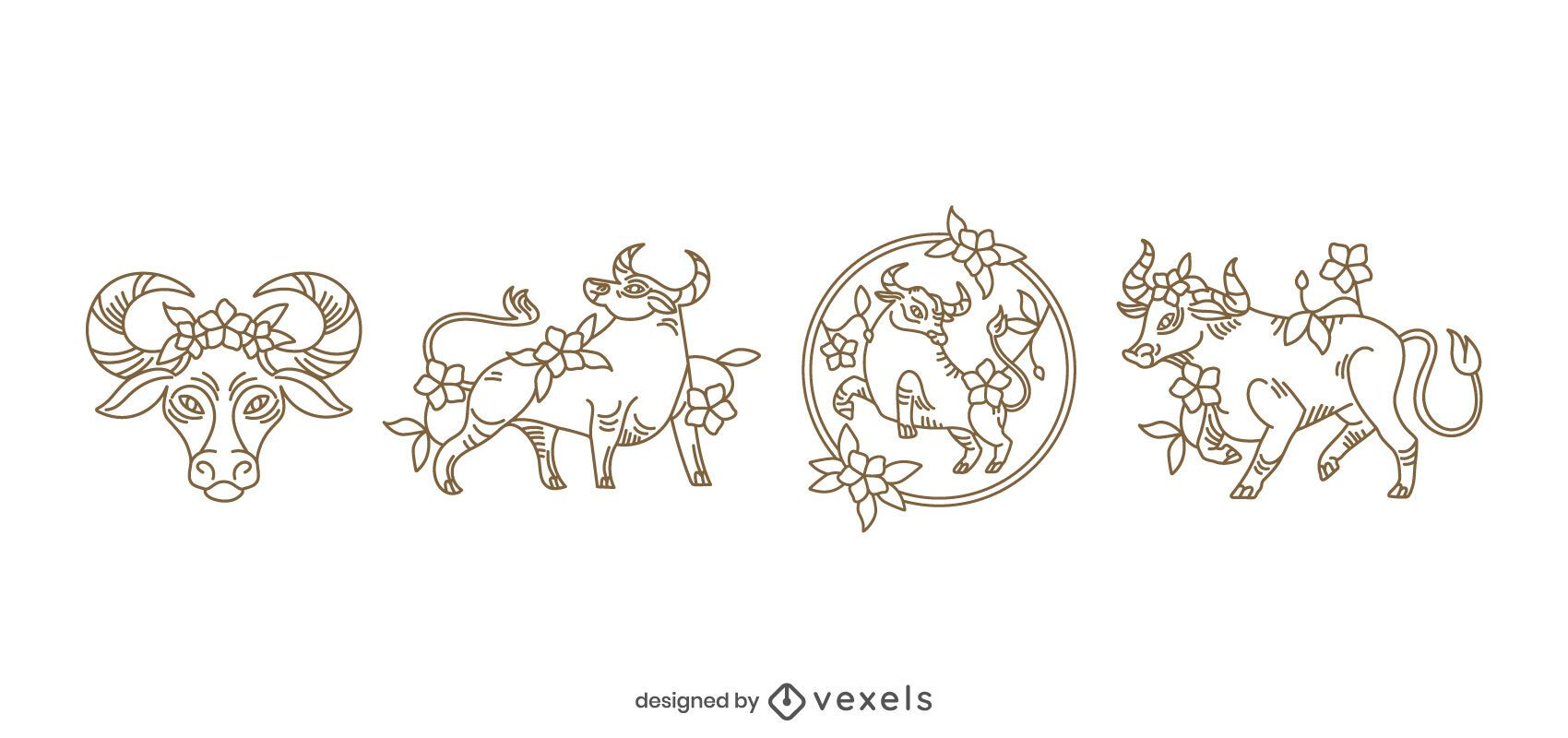 Year of the ox floral stroke set