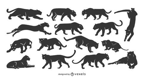 Coleção de silhueta de pantera