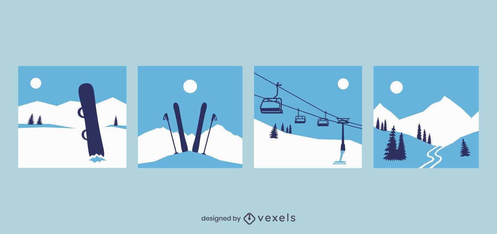 Conjunto de diseño de escenas de esquí.
