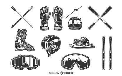 Conjunto de equipamento de esqui preto e branco