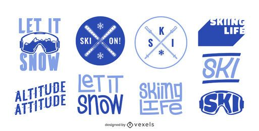 Skiing badge design set