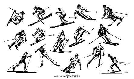 Conjunto de ilustração de pessoas esquiando