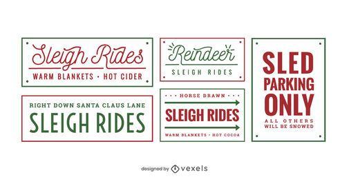 Sledding lettering set design