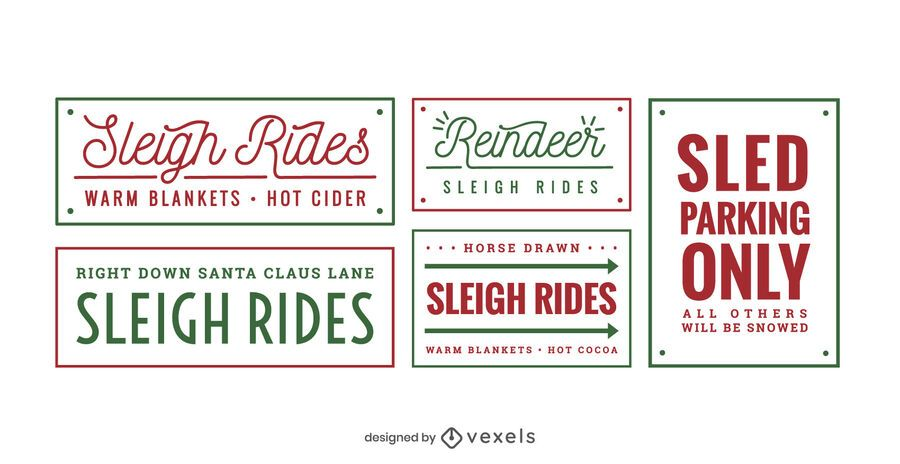 Sledding lettering set design