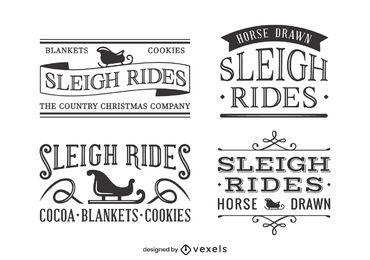 Diseño de conjunto de etiquetas vintage en trineo