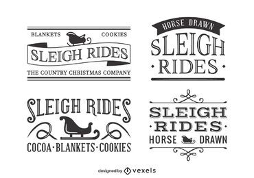 Sledding vintage label set design