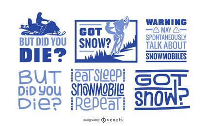 Conjunto de letras de motos de nieve
