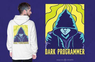 Diseño de camiseta de programador oscuro.