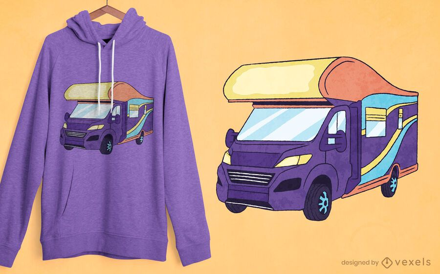 Diseño de camiseta retro de autocaravana.