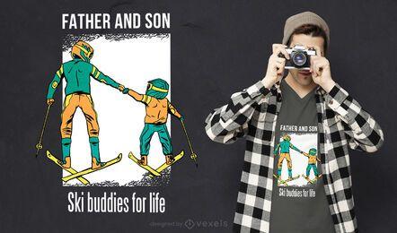 Diseño de camiseta de amigos de esquí.