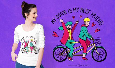 Diseño de camiseta hermana mejor amiga