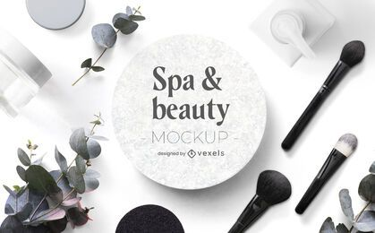 Beauty & spa mockup composition psd