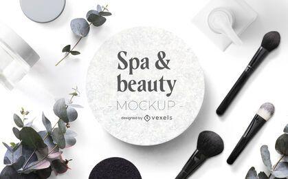 Composición de maqueta de belleza y spa psd