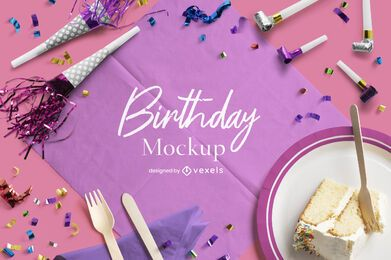 Composição de maquete de celebração de aniversário