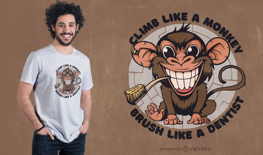 Diseño de camiseta de cepillo de dientes de mono
