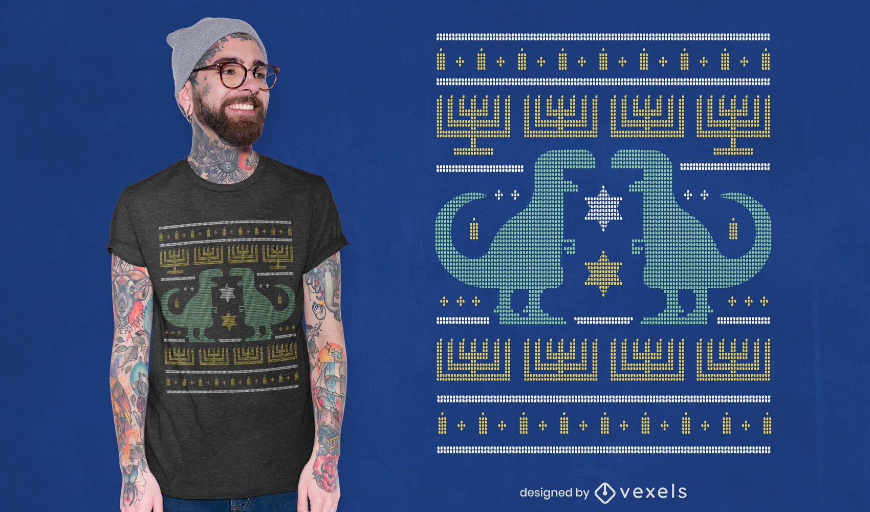 Dino ugly sweater t-shirt design