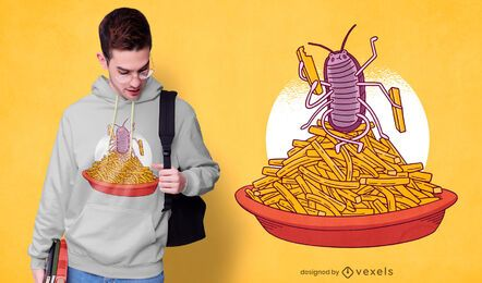 Design de t-shirt com batatas fritas Woodlouse