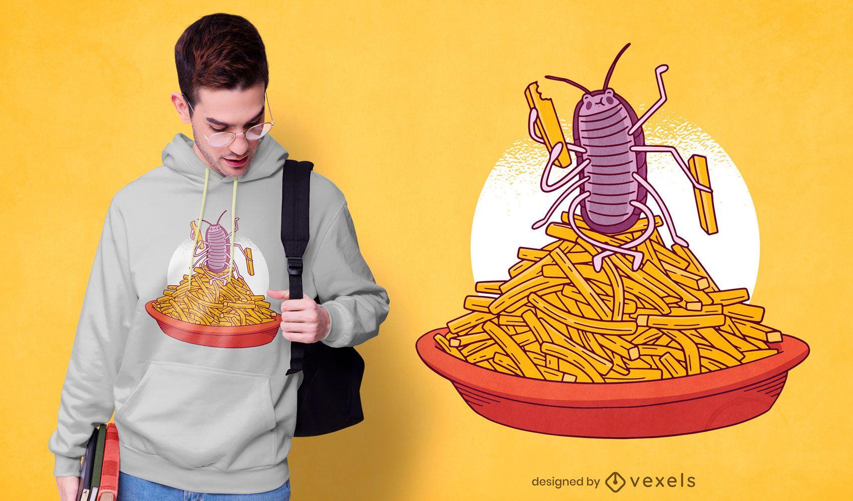 Design de t-shirt com batatas fritas Woodlouse
