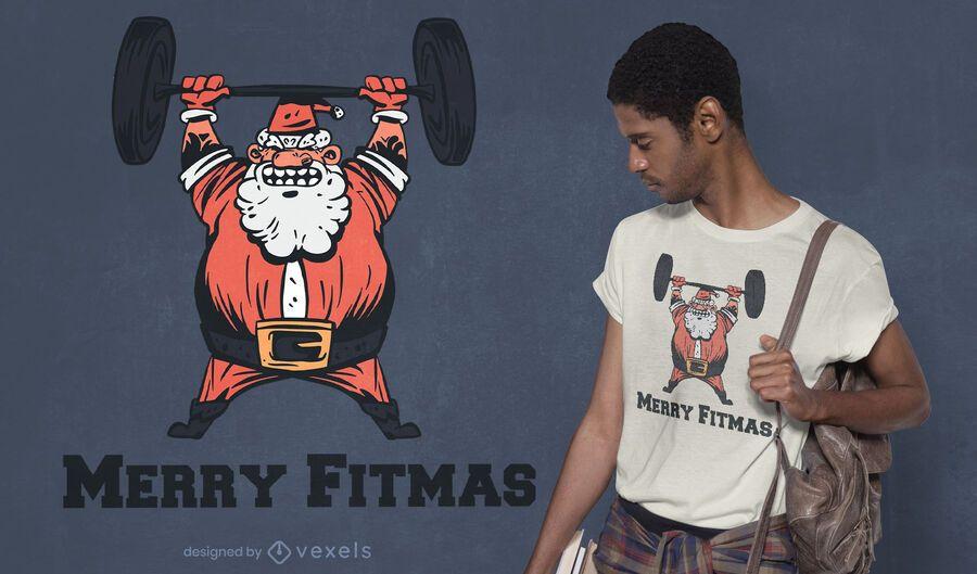 Design de t-shirt do Papai Noel feliz fitmas