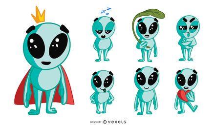 Conjunto de personagens alienígenas fofos