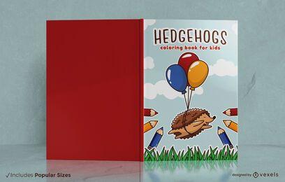 Diseño de portada de libro para colorear de erizos